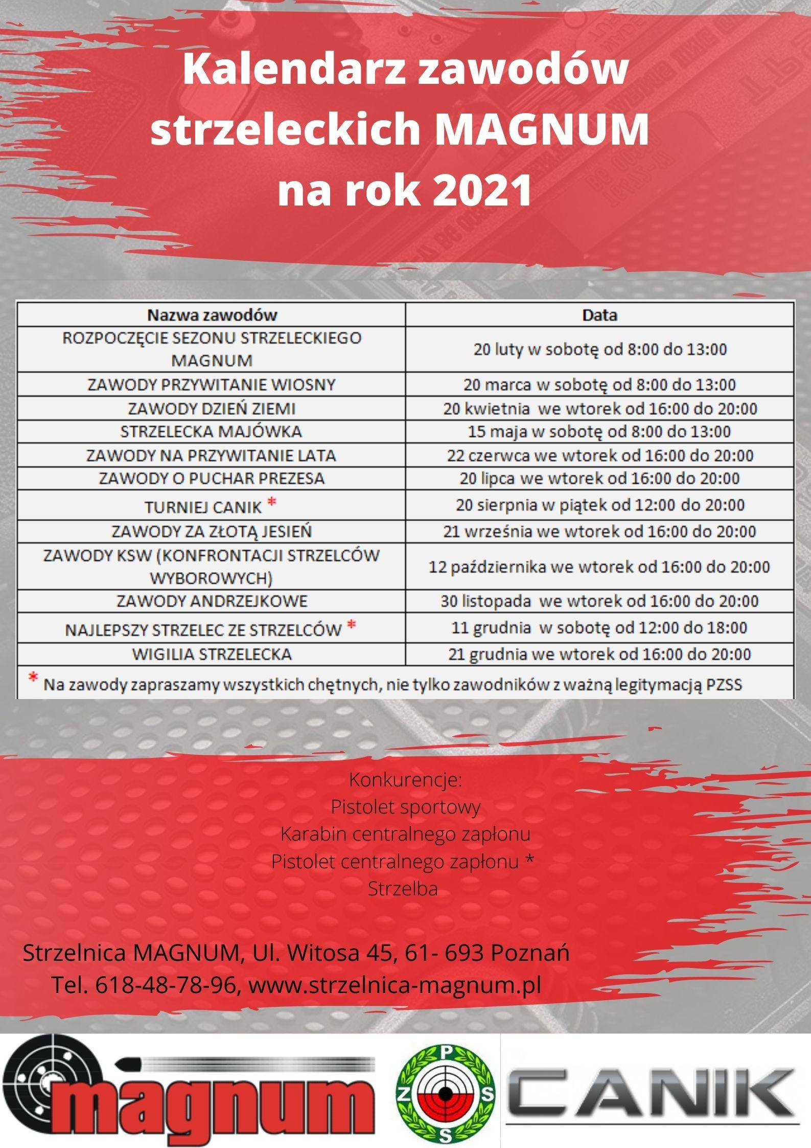 Kalendarz zawodów strzeleckich MAGNUM na rok 2021